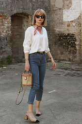 Ana Vukosavljevic - Giant Vintage Blouse, Giant Vintage Bandana, Romwe Jeans, Parfois Bag, Shoes Of Prey - Casual With A Twist