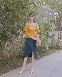 Tricia Gosingtian - Love Bonito Top, Love Bonito Skirt, Charles And Keith Shoes, A.P.C. Bag - 051818