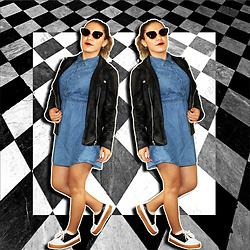 SV - Forever 21 Denim Dress, Forever 21 Faux Leather Jacket, Asos Oxford Platform Sneakers - Diner Mod