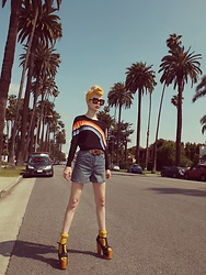 Emmalynn V - Jeffrey Campbell Shoes Foxy Platforms, Vienne Milano High Thighs, Asos Retro High Waisted Denim Shorts, Sonia Rykiel Rainbow Sweater, Gucci Flip Sunglasses - 70's Beverly Hills Brat