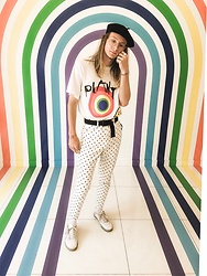 Dustin Faires - Cactus Plant Flea Market Core Melt Tee, Forever 21 Polka Dot Pants, Asos Black Beret, Topman Gold Bumblebee Ring, Vans Black Latch Belt, Adidas White Sneakers - R A I N B O W