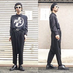 @KiD - Ca4la Beret, Public Image Limited Cut Off Tee, Comme Des Garçons Penguin Pants, Dr. Martens 3hole - JapaneseTrash390