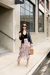 Kat Tanita - Zimmermann Tiered Paisley Skirt, Banana Republic Black Leather Jacket, Forever 21 Black Bodysuit, Meli Melo Light Tan Bucket Bag, Aquazzura Nude Lace Up Heels - A Paisley Skirt for Date Night