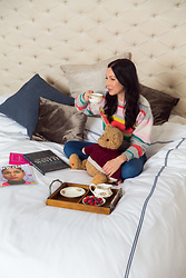 Lisa Valerie Morgan - Rebecca Taylor Sweater, Mott & Bow Jeans, Crown Goose Duvet Cover - A Royal Night's Sleep with Crown Goose