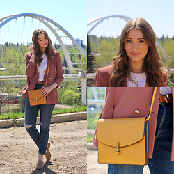 Taylor Doucette - Topshop Oversized Dusty Rose Blazer, Abercrombie & Fitch White T Shirt, Citizens Of Humanity Distressed Boyfriend Jeans, Topshop Mustard Yellow Crossbody Purse - Let Her Go - Family of the Year