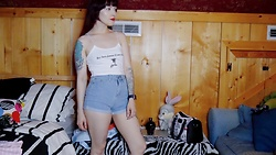 Samantha Elise - Shein Denim Shorts, Shein Hey There Demons Crop Top - Hey There Demons