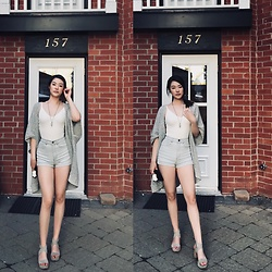Chris J. Shin - Community Grey Cardigan, Talula White Bodysuit, American Apparel Highwaisted Babyblue Shorts, Louise Et Cie Grey Suede Sandals - My Summer Has Begun