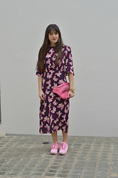 Jeanne -  - ♥ Mango Purple and Pink Floral Dress and Ganni Dee Sneakers