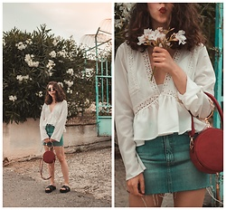 Theoni Argyropoulou - Zaful Blouse, Zaful Round Bag, Mango Diy Denim Skirt, Handmade Leather Sandals - Perfect Summer Look on somethingvogue.com