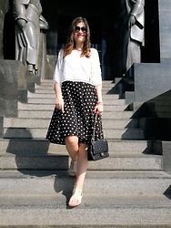 Ivana - Shein Blouse, Shein Polka Dot Skirt, Clarks Sandals, Chanel Purse, Giorgio Armani Sunglasses - Polka Dots