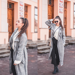Gabriela Grębska - Shein Coat, Na Kd Sweater, Zara Pants - Checked coat & wide pants