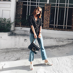 Rekay Style - Wrap Bouse, Rag & Bone Bootcut Jeans, Jw Anderson Pierce Bag - Wrap Blouse with Jeans