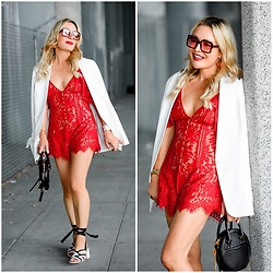 Zia Domic - Tobi Lace Romper, Halogen White Blazer - Red Lace.