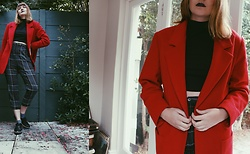 Lootsin Loots - Lootsinfashion Coat, Zara Pants - Red Coat