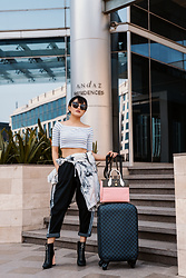 Aien Jamir - Louis Vuitton Damier, Louis Vuitton City Steamer, Forever 21 Crop Top, Adidas Orgininals Joggers, Zara Booties - Travel In Style