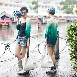 Ren Rong - Uniqlo Top, Romwe Shirt, Forever 21 Shorts, Mango Bag, Kurt Geiger Sneakers - Wet Weather