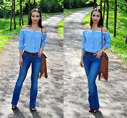 Natalia Uliasz - Tosave Women Off Shoulder Striped Shirt, Massimo Dutti Pants, H&M Bag - Majówka w klimacie boho