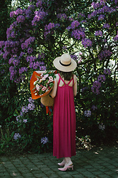Andreea Birsan - Pink Pleated Maxi Dress, Straw Boater Hat, Straw Bag, Pink Suede Mules - The pleated dress