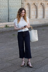 Summer R - And Other Stories Button Up Raw Hem Cropped Jeans, Zara White Blouse With Shoulder Ruffles, Zara Khaki Mary Jane Heels - A la française