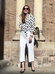 Colourvibes Blog - Zara Polka Dots Shirt, Zara Culotte Pants, Zara Polka Dots Heels, Anine Bing Red Sunnies - All to dots