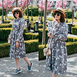 Christina & Karina Vartanovy - Zaful Floral Print Grey Corduroy Dress, The Leather Satchel Hipster Nude Bag, Asos Grey Woolen Plimsolls, Straw Boater Hat - Kristina // familiar