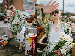 Andreea Birsan - Floral Kimono, White Cami Top, Smoke Lens Glasses, White Peg Trousers, Tropical Print Leather Mules, White Basket Bag - The floral kimono