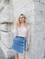 Eleonora Albrecht - Vip Shop Apricot Shirt, Vip Shop Blue Jeans Skirt - A romantic and boho chic outfit