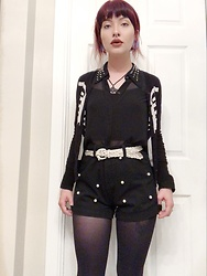 Samantha Elise - Shein Pearl Shorts, H&M Studded Collar Blouse, Gypsy Warrior Skeleton Cardigan, Tights, Shein Bat Necklace - I Only Bruise 4 U