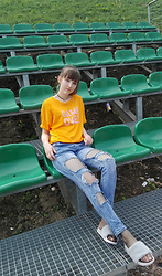 Justyna - Reserved T Shirt, Ripped Jeans, Fishnet Stocking, Choker, Fur Flats - Game over baby!