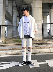 ★masaki★ - New Order Tee, R13 Denim Damage Jeans, Converse Hi - White Trash STYLE