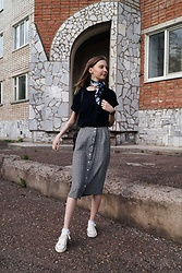 Lena Zemlyanika - Sokolov Earrings, Second Hand Vintage Scarf, Boyfriends T Shirt, Eddie Bauer Skirt, Casio Watches - Vintage scarf 2