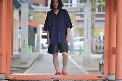 Hideki. Mn - Minus Football Knit Tee, Minus Hakama Shorts, Nike Air Rift - Japanese fashion 77