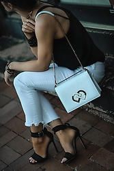 Isabel Alexander - American Eagle Outfitters White Denim, Dsquared2 White Crossbody Bag, Express Black Cami, Tony Bianco Black Single Strap Denim Heels - White denim + cami outfit