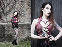 Joan Wolfie - Punk Trash Jacket, H&M Shorts, Alchemy Gothic Jewelry - The Maiden's Conquest