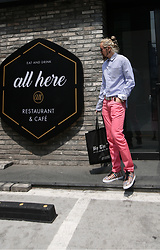 INWON LEE - Byther Fold Cuff Striped Shirts, Byther Casual Pastel Slacks, Byther Shoppers Bag, Byther Striped White Belt - Daily look at restaurant.
