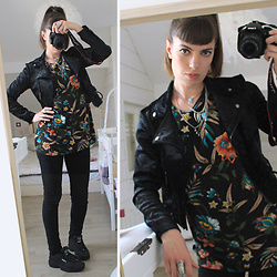 ♡Nelly Kitty♡ - Forever 21 Black Velvet Biker Jacket, Zara Tropical Print Tshirt, Fila Disruptor - OOTD#38