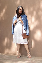Sandra Raju - Only Denim Jacket, Forever 21 White Lace Skirt, Coach Tan Crossbody Bag, Fossil Rose Gold Watch - Dressy Casual