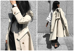 Izabela - Simple Beige Coat, Daniel Wellington Watch, Zara Leather Joggers, Zara White Shirt, Christian Dior Soreal Sunnies, Zara Loafers With Pearls - SHADES OF BEIGE