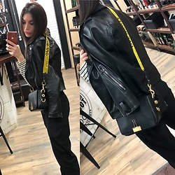 Vasilina Малюха - Zara Black Pants, Zara Leather Jacket, Off  White Bag - Skin texture and catchy element