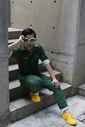 Hedi Wang - Gucci Rivets Sunglasses, H&M Designer Collaboration Tiger Pattern Coveralls, Athletic Propulsion Labs(Apl) Running Shoes, Soxks Pink Plaid Socks - Yellow Watermelon
