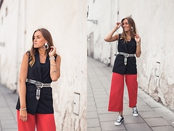 Aiste Mondayjazz - Zara Earrings, Mango Vest, Vintage Belt, Zara Pants, Converse Sneakers - OOTD: red pants & vintage belt