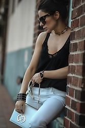 Isabel Alexander - Express Black Cami With Lace Trim, Dsquared2 White Crossbody Bag With Gold Chain, American Eagle Outfitters White Frayed Hem Denim - An All American Summer Outfit for All Ocassions