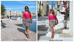 Kintan T - C&A Off Shoulder Top, H&M Mini Skirt, Deichmann Sandals With Pompom, Walker Sunglasses, Jansport Backpack In Ethnic Printed - Exploring Sitía Town & Around, Crete-Greece