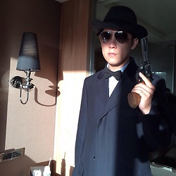 Hedi Wang - Dunhill Chesterfield Overcoat, Ray Ban Sunglasses, Ecua Andino Panama Hat - Mad Detectiv