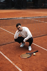 Kevin Elezaj - Nike Sneakers, Cos Suitpants, Sandro Sweater, Asos Glasses - Tennis