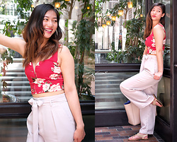 Manda L - Dynamite Clothing V Cut Floral Crop Top, Uniglo Highwaisted Sash Tie Pants - Looking for that summer heat