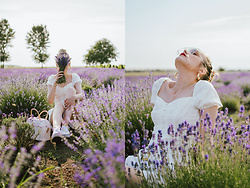Andreea Birsan - Button Detail White Top, White Shorts, White Basket Bag, Clear Lens Aviator Glasses, White Trainers - Lavender fields