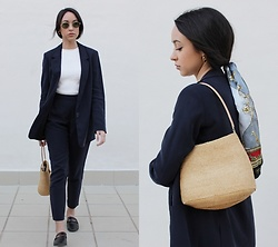 Esther L. - Zara Navy Suit, Giant Vintage Sunglasses, Vintage Straw Bag, Balmain Vintage Silk Scarf, Jane Koenig Gold Hoops - SILK SCARF