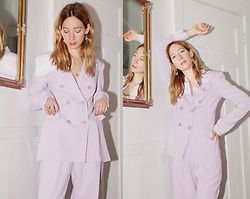 Gabrielle Lacasse - Tibi Lilac Suit, Topshop Gold Earrings - Lilac Birthday suit