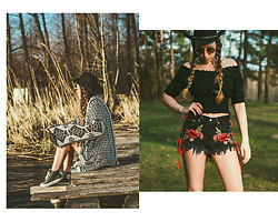 Iwona - Deesem Denim Shorts, Converse Sneakers, H&M Blouse - BLACK FLORAL SHORTS